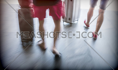 Tourists in shorts carry suitcases with wheels, conceptual image