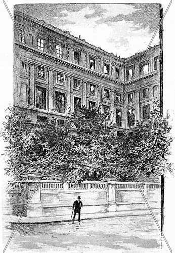 A corner of the facade, vintage engraved illustration. Paris - Auguste VITU – 1890.