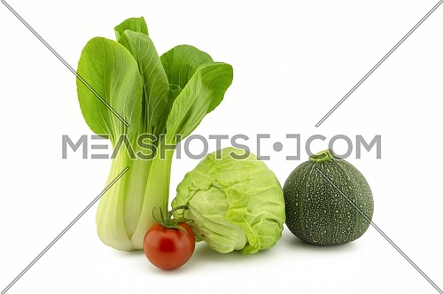 Chinese cabbage, green round courgette, white cabbage and cherry tomato isolated on white background