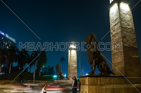 Zoom out Side Shot for Qasr Al Nile Bridge at Night