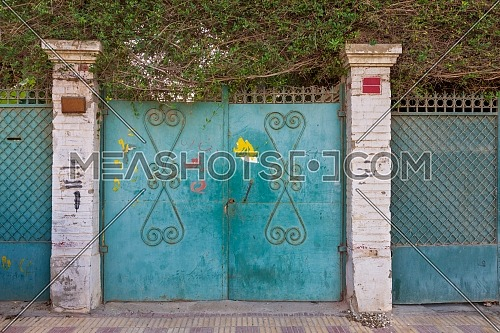Background of three green old weathered grunge antique wrought iron gates with floral pattern ornaments and two white bricks columns