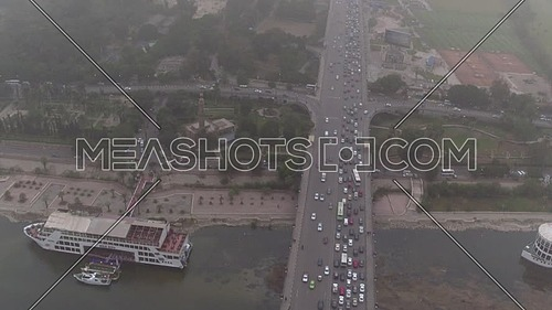 Fly Over Cairo city in Tahrir Area at Foggy Day.