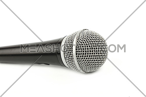 Vocal microphone side view close up on white background