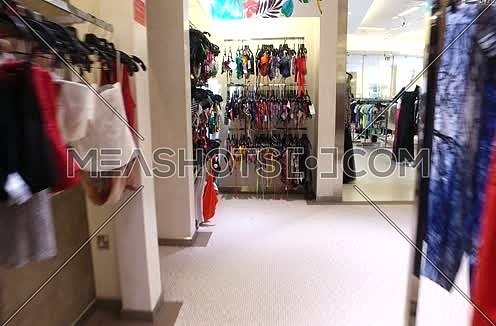 point of view shot at a female clothes store
