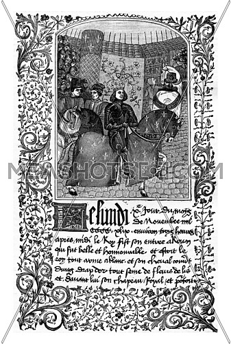Entry of Charles VII in Rouen (1450). Miniature from a manuscript of the fifteenth century, vintage engraved illustration. Industrial encyclopedia E.-O. Lami - 1875.