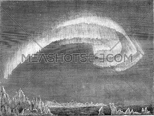 Appearance of the aurora borealis in south in evening, Bossekop (Finnmark), vintage engraved illustration. Le Tour du Monde, Travel Journal, (1865).