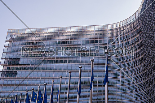 European flags in front of the Berlaymont building, headquarters of the European commission in Brussels