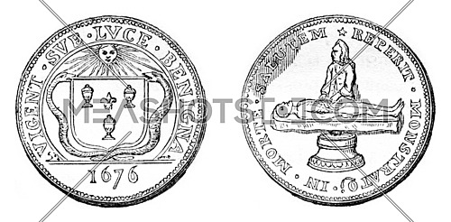 Other master surgeon token, At right, the weapons of the Faculty of surgery, vintage engraved illustration. Magasin Pittoresque 1857.