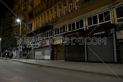 Long shot for Downtown Cairo during the first day of a two-weeks night-time curfew in Cairo on 19 March 2020