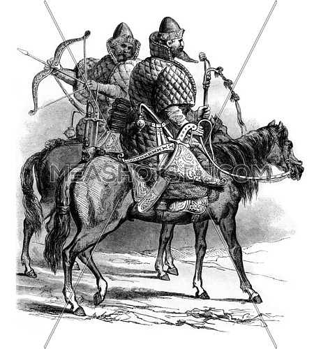 Muscovite riders in the sixteenth century, vintage engraved illustration. Magasin Pittoresque 1861.
