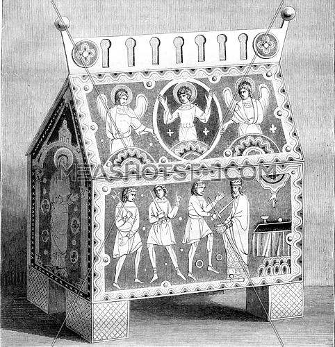 Byzantine style, Drawing a hunting enamelled, of after the original monument, vintage engraved illustration. Magasin Pittoresque 1842.