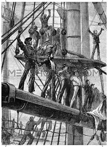 Revolt of the English sailors, On each ship they went to tackle, vintage engraved illustration. Journal des Voyage, Travel Journal, (1880-81).
