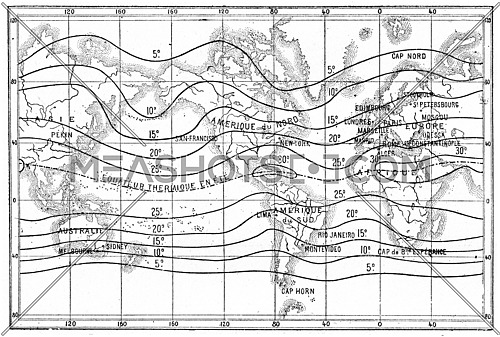 Map of isothermal lines or isotherms of summer, vintage engraved illustration. Dictionary of words and things - Larive and Fleury - 1895.