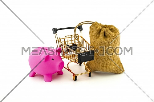 Empty golden shopping cart, piggy bank and jute bag isolated on white background