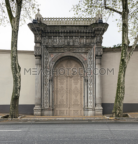 One of the doors leading to the Ciragan Palace at Ciragan Street, a former Ottoman palace located in Beshektash, Istanbul, Turkey