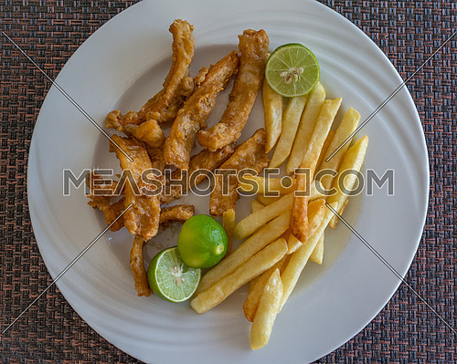 In the photo fried calamari served with fries and three lime as a garnish