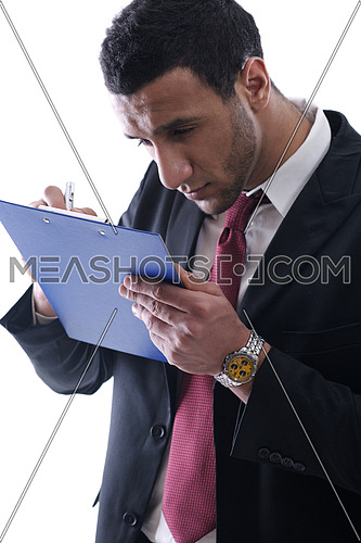 business man people write form and have problem to read. Eye and see problem  medical concept