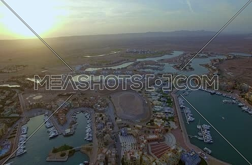 Drone shot flying above Al Gouna  at sunset
