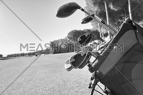 Close view of the golf equipment on the golf course