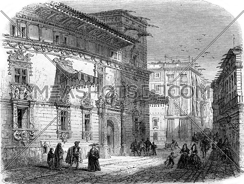 La Casa de Gralla on the Place de Courcelles, in Barcelona, vintage engraved illustration. Magasin Pittoresque 1857.