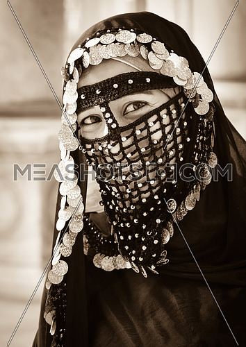 A Girl wearing old Egyptian costumes - Mohamed Ali mosque - Cairo - black & white