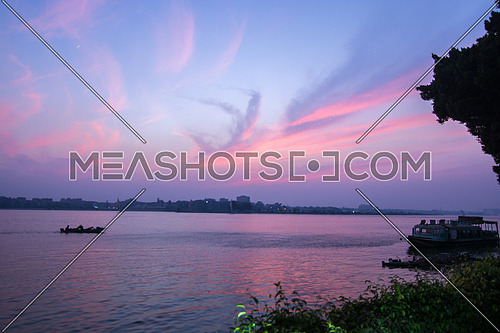 sunset by the river nile in cairo egypt