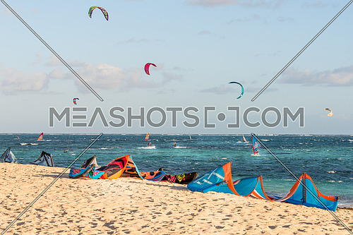 The group of kitesurfing on the beach at Mauritius Island.