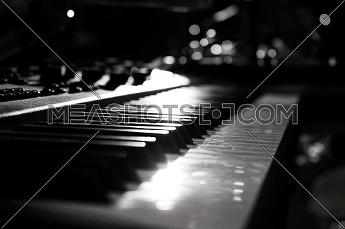Piano Keyboards In Music Studio. Musical Instruments