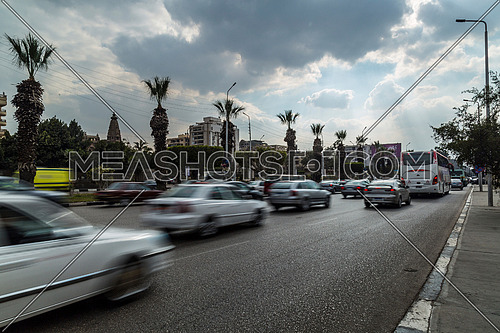 Long Shot for traffic at Salah Salim Street showing Le Baron Palace in background at Daytime