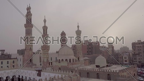 Fly Out Shot for Al-Azhar Mosque in Cairo by dusk