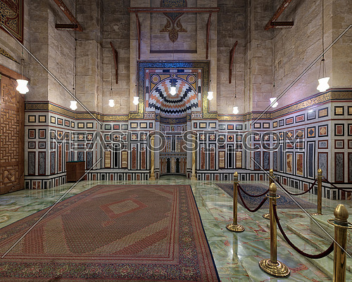 Interior of the tomb of the Reza Shah of Iran, Al Rifaii Mosque (Royal Mosque), located in front the Cairo Citadel, Cairo, Egypt