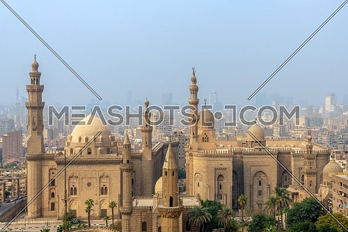 Aerial view of Cairo city from Salah Al Deen Citadel (Cairo Citadel) with Al Sultan Hassan and Al Rifai Mosques, Cairo, Egypt