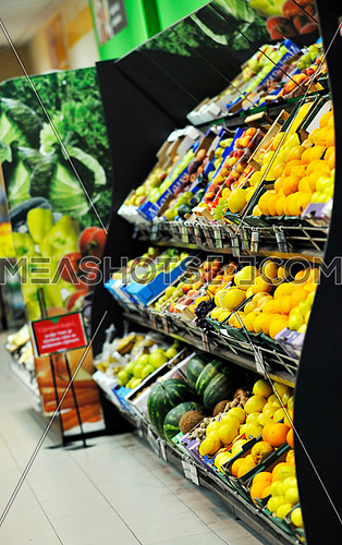fresh fruits and vegetables in supermarket store shop