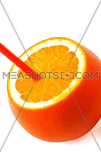 fresh ripe orange cutted on top with straw on white background
