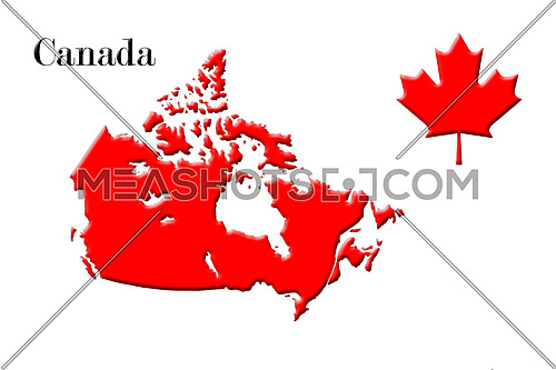 Canadian Map With National Flag and Maple Leaf On White Background 3D Rendering
