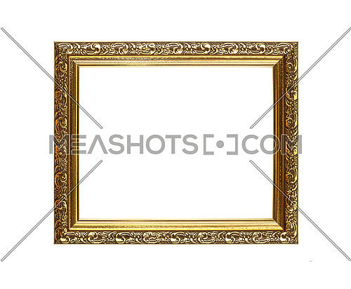 Antique old baroque ornate wooden classic golden painted horizontal rectangular frame for picture or photo, isolated on white background, close up