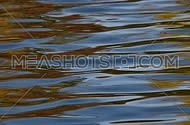 Colorful yellow, red, orange and blue ripples and waves running on water surface, moving flow background, Full HD 1080, close up