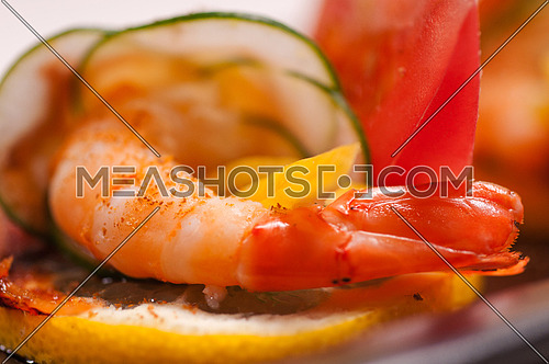 colorful  fresh prawn shrimps and vegetables appetizer snack antipasto