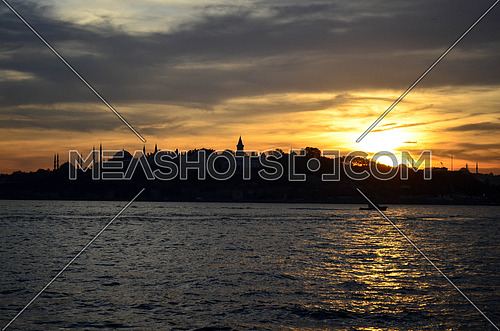 Istanbul sunset landscape over the bosphorous water