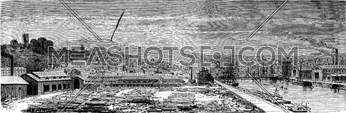 View of Newport, vintage engraved illustration. Le Tour du Monde, Travel Journal, (1865).