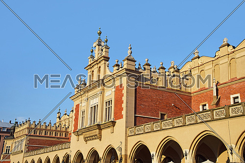 Low angle view of Old Town Cloth Hall (Sukiennice) at Main Market Square of Krakow, Poland