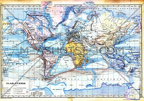 The old map of planisphere with colours in it.