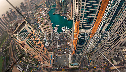 Dubai Marina showing torch tower under renovation after fire