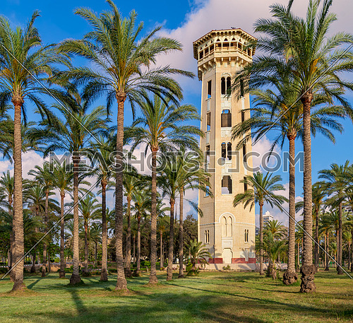 Old decorated antique elevated water tank framed by high palm trees before sunset with partly cloudy blue sky, Montaza public park, Alexandria, Egypt
