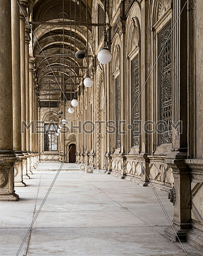 One of the four passages surrounding the inner court of The Great Mosque of Muhammad Ali Pasha (Alabaster Mosque), situated in the Citadel of Cairo in Egypt, commissioned by Muhammad Ali Pasha between 1830 and 1848. Considered as one of the landmarks and tourist attractions of Cairo