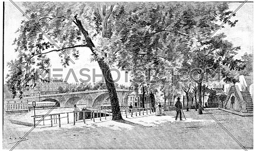The Pont-Royal seen from the right bank, near the baths Vigier, vintage engraved illustration. Paris - Auguste VITU – 1890.