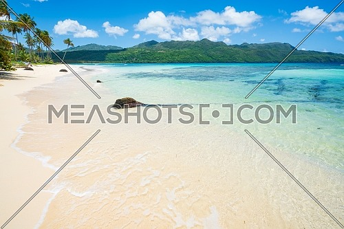 wonderful exotic white sandy beach in Rincon, sunny day in Samana peninsula,Dominican Republic