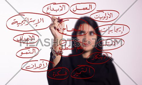 "Arabian middle eastern business woman writing with a marker on virtual screen in arabic different business related arabic words and highlighting ""sucess"" isolated on white background"