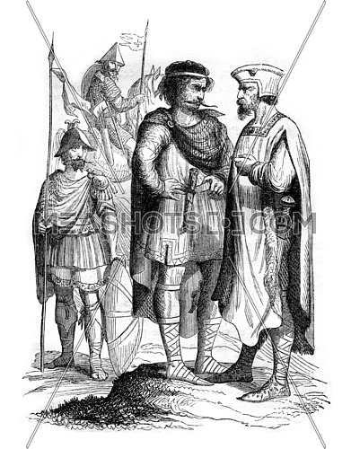 Lords of the court of Charles the Bald, vintage engraved illustration. Magasin Pittoresque 1843.