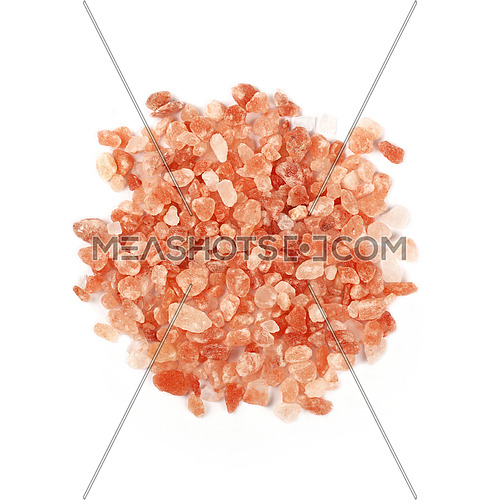 Close up one portion, heap of large crystals pink Himalayan salt isolated on white background, elevated top view, directly above